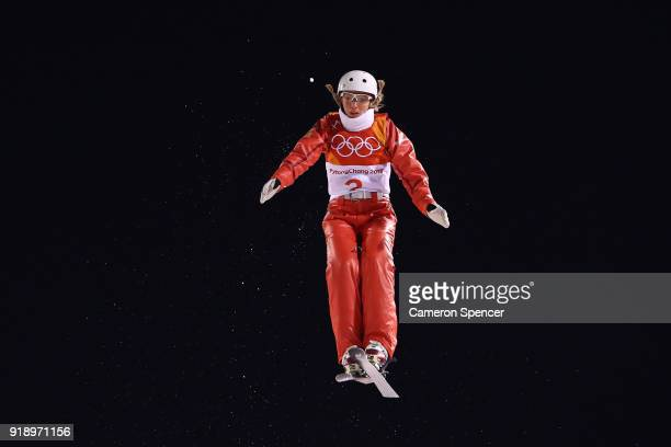 Alexandra Orlova of Olympic Athlete from Russia competes during the Freestyle Skiing Ladies' Aerials Final on day seven of the PyeongChang 2018...