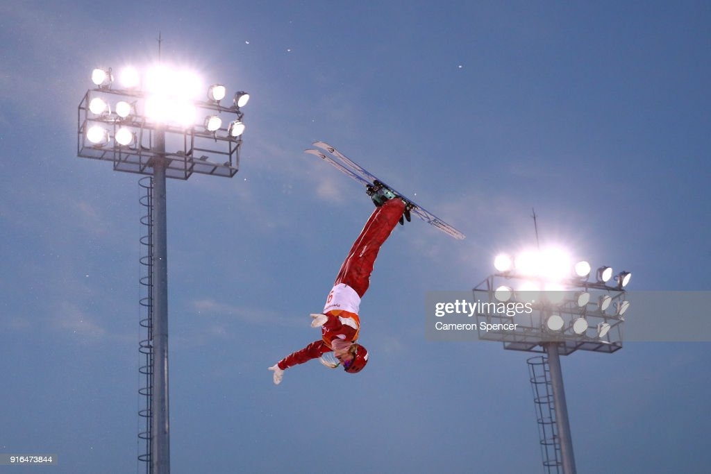 Alexandra Orlova of Olympic Athletes from Russia performs an aerial during Freestyle Skiing Ladies' Aerials training on day one of the PyeongChang 2018 Winter Olympic Games at Phoenix Snow Park on February 10, 2018 in Pyeongchang-gun, South Korea.