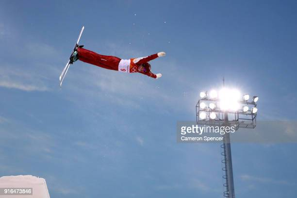 Alexandra Orlova of Olympic Athletes from Russia performs an aerial during Freestyle Skiing Ladies' Aerials training on day one of the PyeongChang...