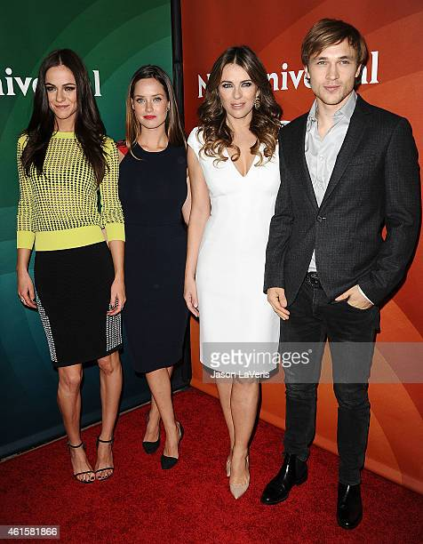 Alexandra Park Merritt Patterson Elizabeth Hurley and William Moseley attend the NBCUniversal 2015 press tour at The Langham Huntington Hotel and Spa...