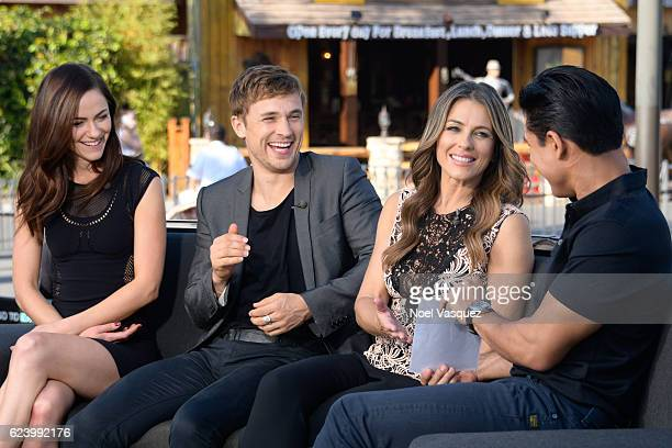 Alexandra Park William Moseley and Elizabeth Hurley visit 'Extra' at Universal Studios Hollywood on November 17 2016 in Universal City California