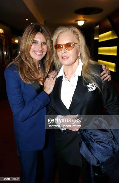 Alexandra Pastor and her mother in law Sylvie Vartan pose after Sylvie Vartan performed at Le Grand Rex on March 16 2018 in Paris France