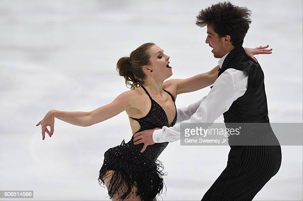 Alexandra Paul and Mitchell Islam of Canada compete in the short dance program at the US International Figure Skating Classic Day 2 at the Salt Lake...