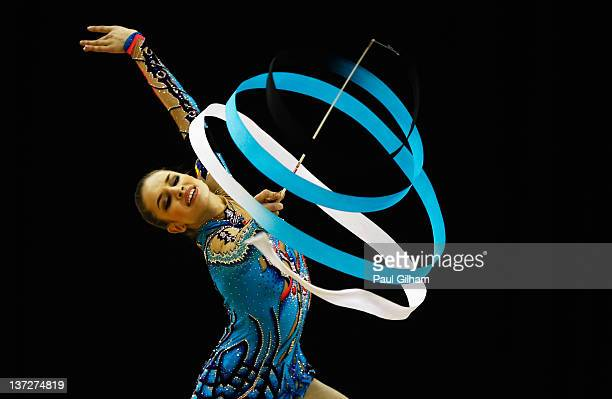 Alexandra Piscupescu of Romania in action in the Individual AllAround during the FIG Rhythmic Gymnastics Olympic Qualification round at North...