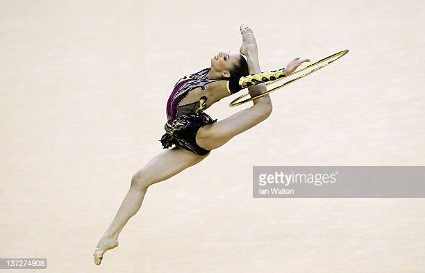 Alexandra Piscupescu of Romania in action in the Individual AllAround Final during the FIG Rhythmic Gymnastics at North Greenwich Arena on January 18...