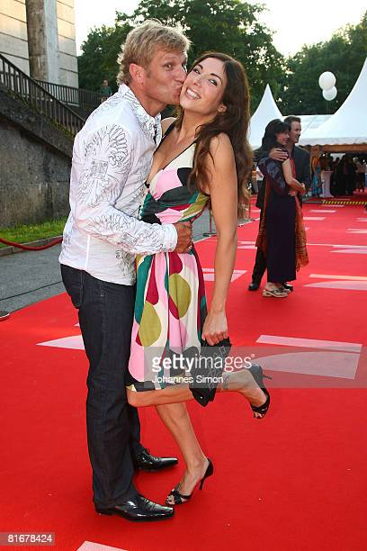 Alexandra Polzin and boyfriend Gerhard Leinauer attend the 'Movie Meets Media' party at discoteque P1 on June 23 2008 in Munich Germany