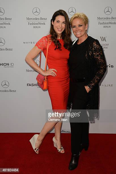 Alexandra Polzin and Claudia Effenberg attend the Guido Maria Kretschmer show during the MercedesBenz Fashion Week Spring/Summer 2015 at Erika Hess...