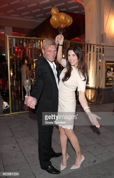 Alexandra Polzin and her husband Gerhard Leinauer attend the Eclat Dore summer party at Hotel Vier Jahreszeiten Kempinski on July 23 2014 in Munich...