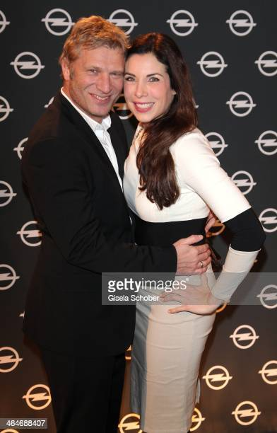 MUNICH GERMANY JANUARY Alexandra Polzin and husband Gerhard Leinauer attend the presentation and vernissage of the calender THE ADAM BY BRYAN ADAMS...