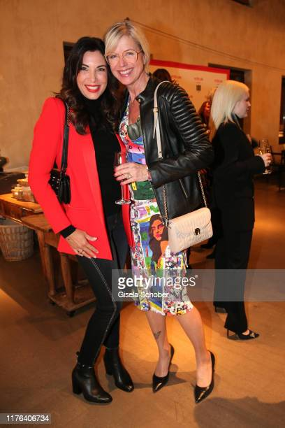 Alexandra Polzin and Susanne Sigl during the InStyle meets RIANI Dinner at Garden Restaurant / Hotel Bayerischer Hof on October 17, 2019 in Munich,...