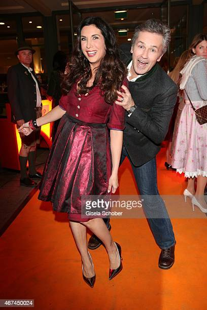 Alexandra Polzin and Timothy Peach during the SIXT fashion dinner at Nockherberg on March 24 2015 in Munich Germany