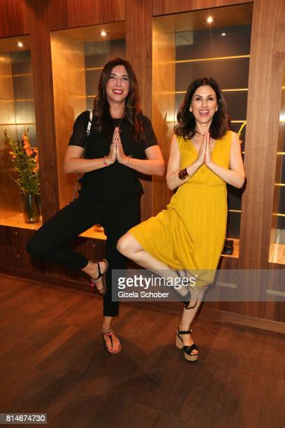 Alexandra Polzin and Viktoria Lauterbach are doing yoga during the summer cocktail and Mizu Onsen SPA Opening at Hotel BachmairWeissach on July 14...