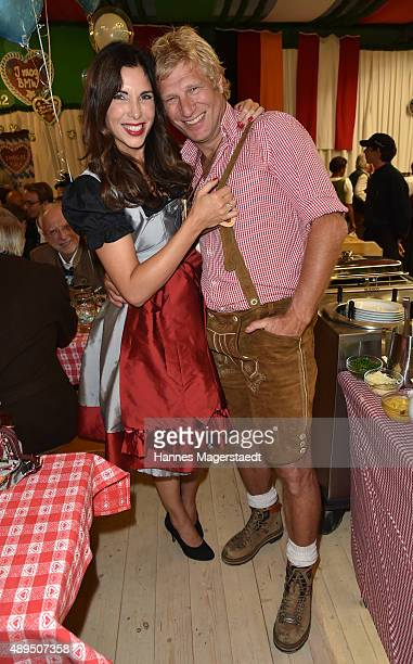 Alexandra PolzinLeinauer and Gerhard Leinauer attend the BMW Armbrustschiessen at ArmbrustSchuetzenfesthalle during the Oktoberfest 2015 at...