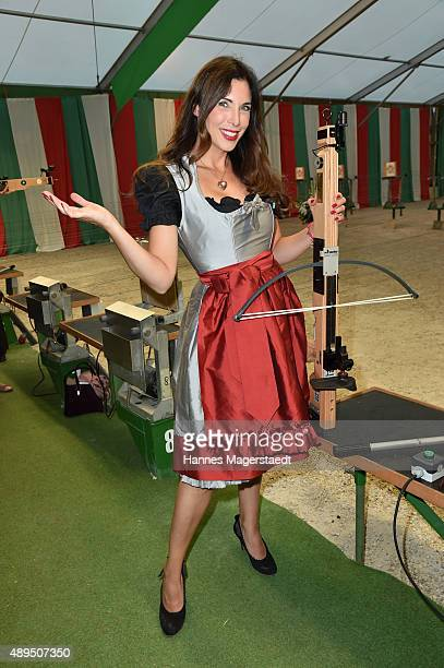 Alexandra PolzinLeinauer attends the BMW Armbrustschiessen at ArmbrustSchuetzenfesthalle during the Oktoberfest 2015 at Theresienwiese on September...