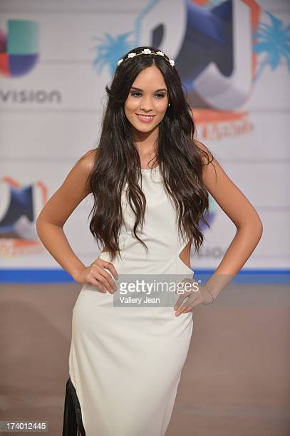 Alexandra Pomales arrives at Premios Juventud 2013 at Bank United Center on July 18 2013 in Miami Florida