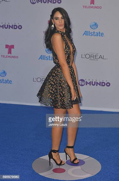 Alexandra Pomales arrives at Telemundo's Premios Tu Mundo 'Your World' Awards at American Airlines Arena on August 25 2016 in Miami Florida