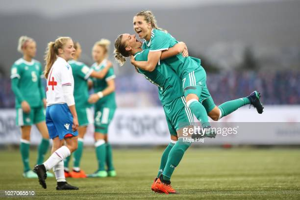 Alexandra Popp and Verena Schweers of Germany celebrate after the Faroe Islands Women's v Germany Women's 2019 FIFA Women's World Championship...