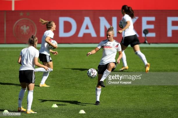 Alexandra Popp atends a Germany Women's training session at Stadion Essen on September 18 2020 in Essen Germany