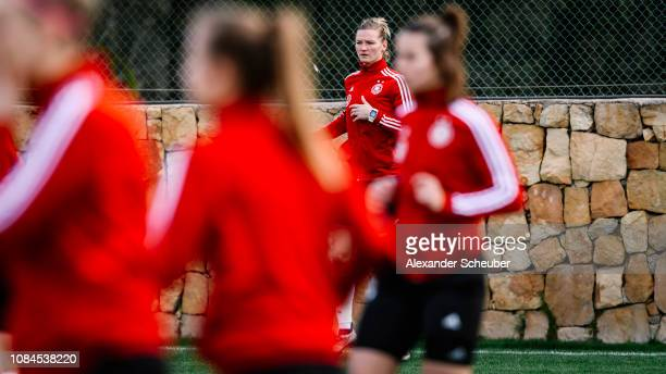 Alexandra Popp is seen during the Germany Women's training session at at Marbella Football Center on January 17 2019 in Marbella Spain