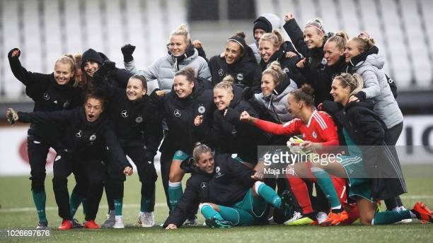 Alexandra Popp of Germany and team mates celebrate victory after the Faeroe Islands Women's v Germany Women's 2019 FIFA Women's World Championship...
