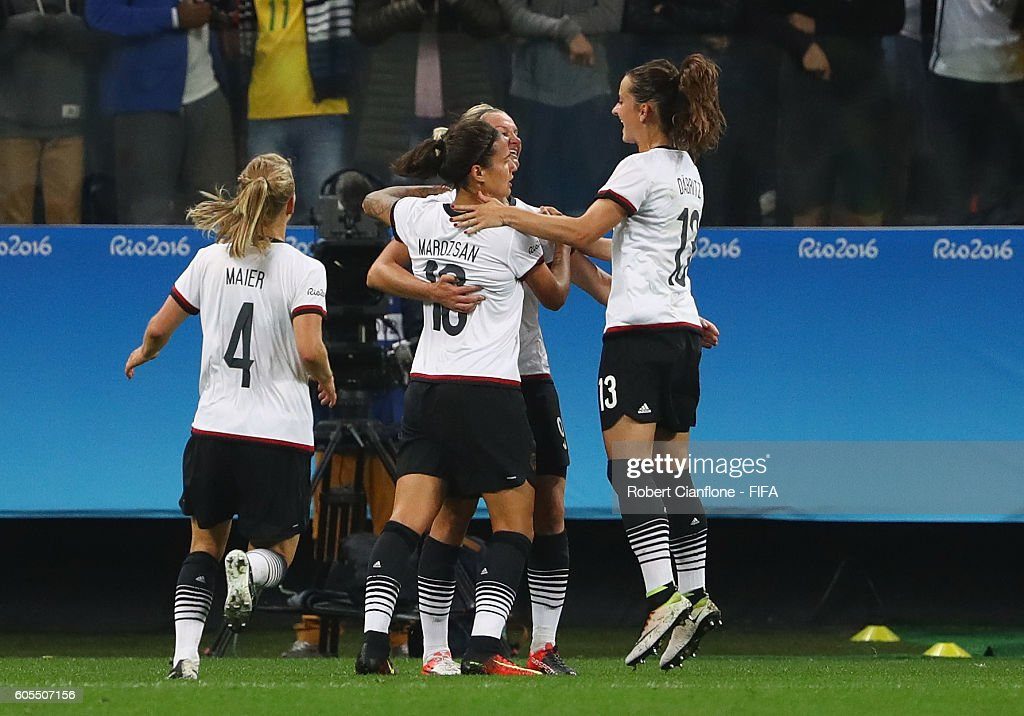 Alexandra Popp of Germany celebrates after scoring a goal during the Women's First Round Group F match between Zimbabwe and Germany at Arena Corinthians on August 3, 2016 in Sao Paulo, Brazil.