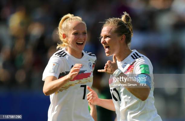 Alexandra Popp of Germany celebrates after scoring her team's first goal during the 2019 FIFA Women's World Cup France Round Of 16 match between...