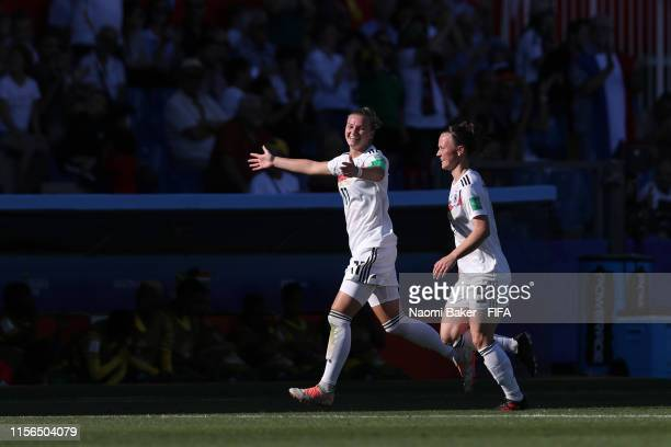 Alexandra Popp of Germany celebrates after scoring her team's third goal during the 2019 FIFA Women's World Cup France group B match between South...
