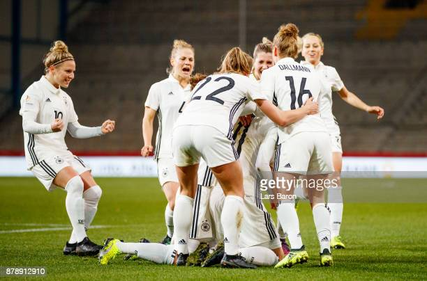 Alexandra Popp of Germany celebrates after scoring his teams first goal during the Germany v France Women's International Friendly match at Schueco...