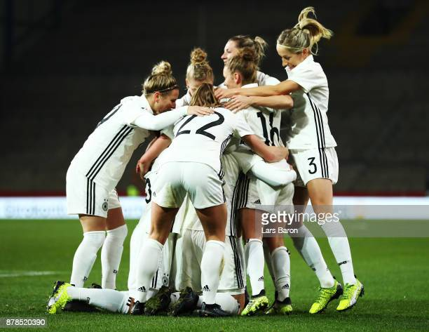 Alexandra Popp of Germany celebrates after scoring the first goal during the Germany v France Women's International Friendly match at Schueco Arena...