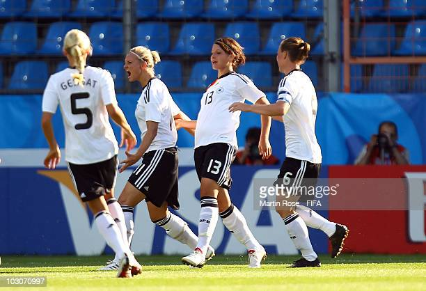 Alexandra Popp of Germany celebrates after scoring the opening goal during the FIFA U20 Women's World Cup Quarter Final match between Germany and...