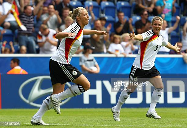 Alexandra Popp of Germany celebrates after scoring the opening goal during the 2010 FIFA Women's World Cup Final match between Germany and Nigeria at...