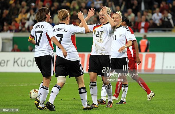 Alexandra Popp of Germany celebrates after she scores her team's 3rd goal during the Women's International Friendly match between Germnay and Canada...