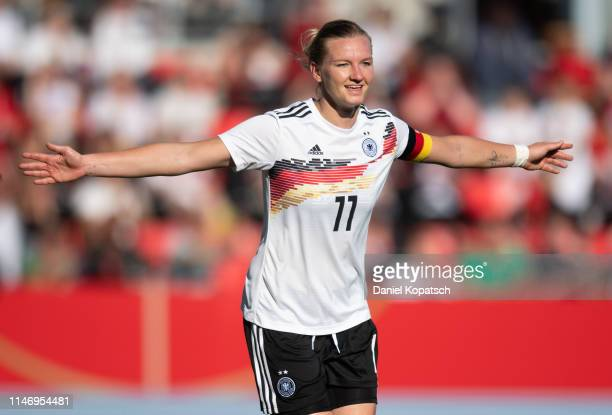 Alexandra Popp of Germany celebrates her team's first goal during the international friendly match between Germany Women and Chile Women at...