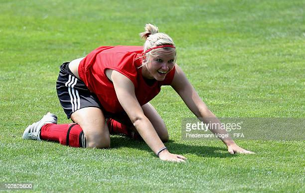 Alexandra Popp of Germany exercises during the training at the FIFA U20 Women's World Cup stadium on July 12 2010 in Bochum Germany