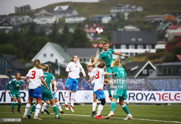 Alexandra Popp of Germany jumps high for a header during the Faeroe Islands Women's v Germany Women's 2019 FIFA Women's World Championship Qualifier...