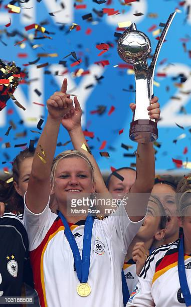 Alexandra Popp of Germany lifts the trophy after the 2010 FIFA Women's World Cup Final match between Germany and Nigeria at the FIFA U20 Women's...