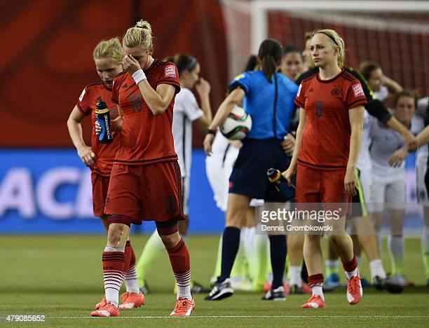 Alexandra Popp of Germany looks dejected after the FIFA Women's World Cup 2015 SemiFinal Match at Olympic Stadium on June 30 2015 in Montreal Canada