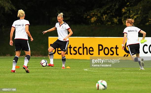 Alexandra Popp of Germany on the ball during the training on September 16 2015 in Leipzig Germany
