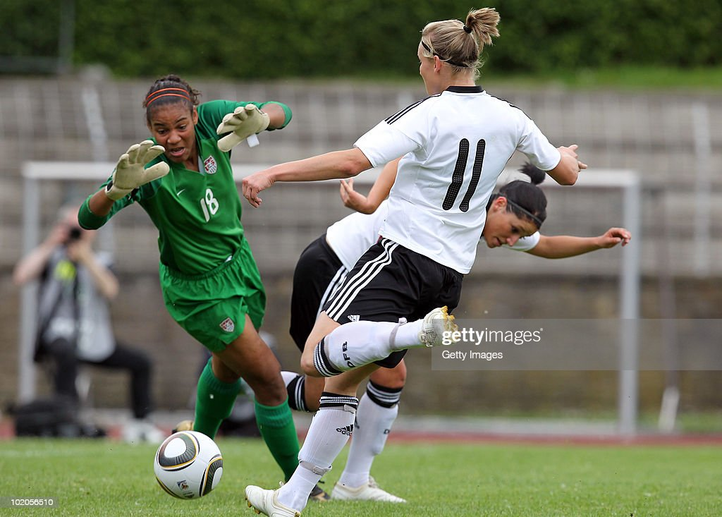 Alexandra Popp (11) of Germany scores a goal during the DFB women's U20 match between Germany and USA at the Ludwig-Jahn-Stadion on June 13 2010 in Herford, Gerrmany.