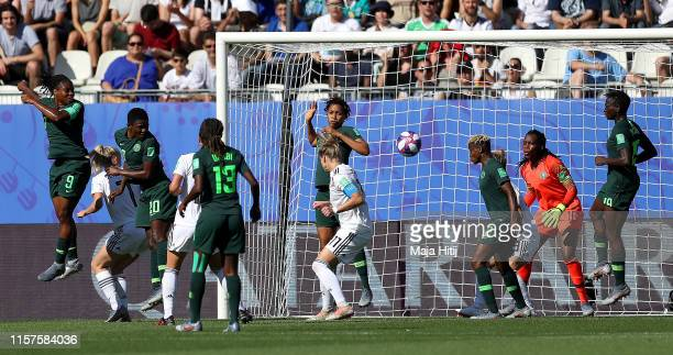 Alexandra Popp of Germany scores her team's second goal during the 2019 FIFA Women's World Cup France Round Of 16 match between Germany and Nigeria...