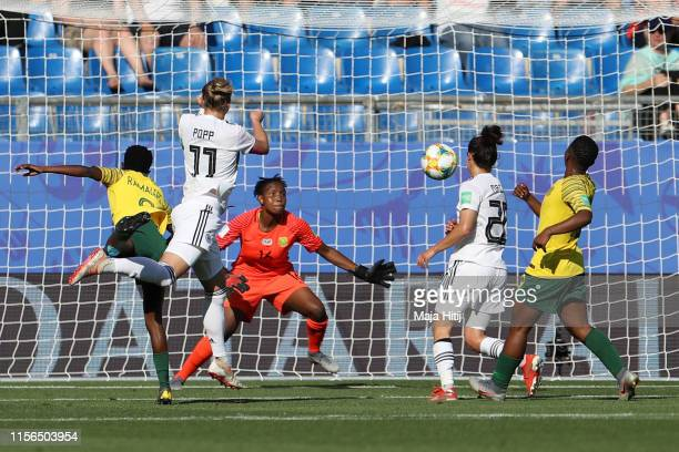 Alexandra Popp of Germany scores her team's third goal during the 2019 FIFA Women's World Cup France group B match between South Africa and Germany...