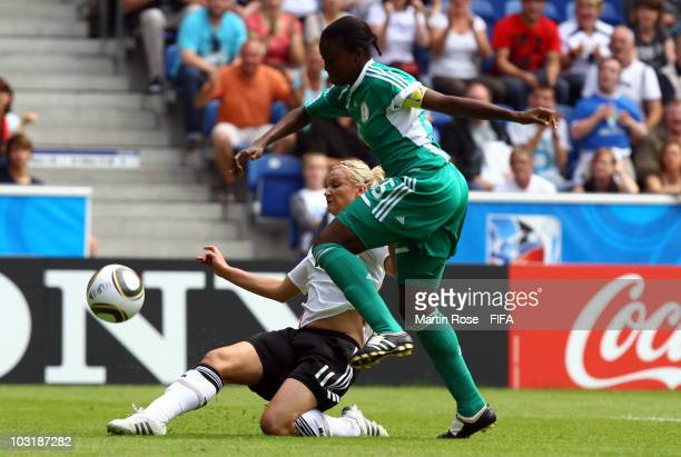 Alexandra Popp of Germany scores the opening goal during the 2010 FIFA Women's World Cup Final match between Germany and Nigeria at the FIFA U20...