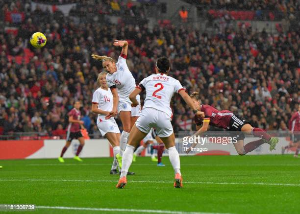 Alexandra Popp of Germany scoresduring the International Friendly between England Women and Germany Women at Wembley Stadium on November 9, 2019 in...