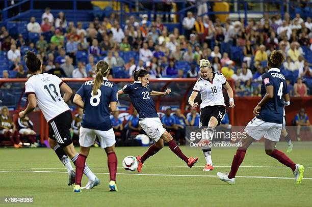 Alexandra Popp of Germany takes a shot during the FIFA Women's World Cup Canada 2015 Quarter Final match between Germany and France at Olympic...
