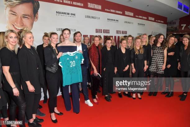 Alexandra Popp of Germany women's soccer team actress Freya Mavor David Kross Martina VossTecklenburg and the Germany women's soccer team during the...