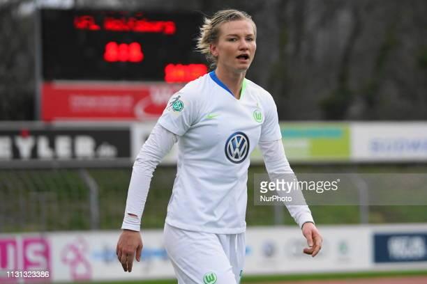 Alexandra Popp of Vfl Wolfsburg complains a foul against her during the Allianz Frauen Bundesliga football match between SC Freiburg and Vfl...