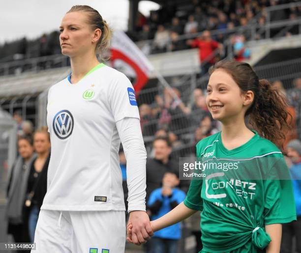 Alexandra Popp of Vfl Wolfsburg entering the stadium during the Allianz Frauen Bundesliga football match between SC Freiburg and Vfl Wolfsburg at...