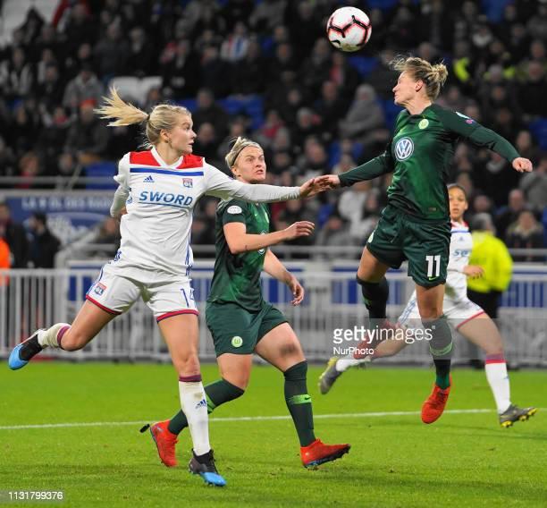 Alexandra Popp of Vfl Wolfsburg header during the UEFA Women's Champions League Quarter final football match between Olympique Lyonnais and Vfl...