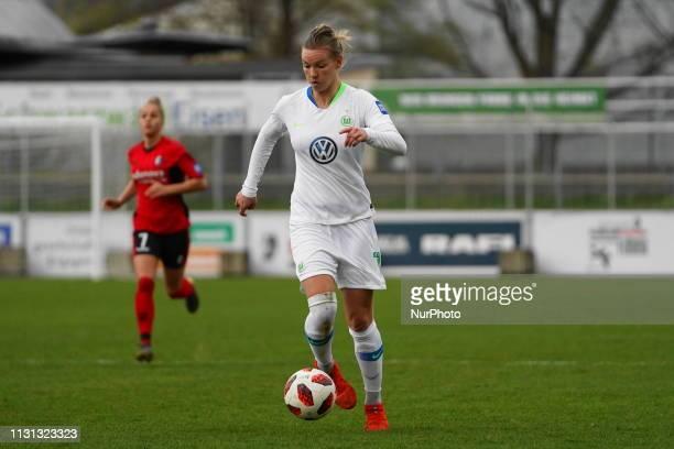 Alexandra Popp of Vfl Wolfsburg on the ball during the Allianz Frauen Bundesliga football match between SC Freiburg and Vfl Wolfsburg at Mslestadion...