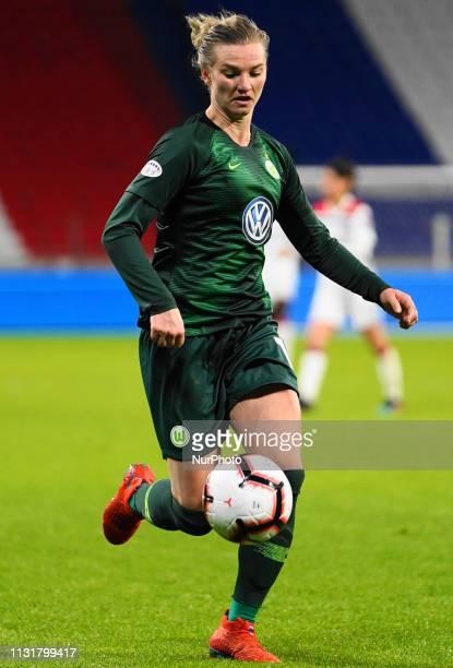 Alexandra Popp of Vfl Wolfsburg on the ball during the UEFA Women's Champions League Quarter final football match between Olympique Lyonnais and Vfl...